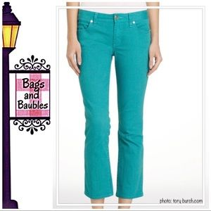 TORY BURCH Teal Cropped Jeans, Size 26